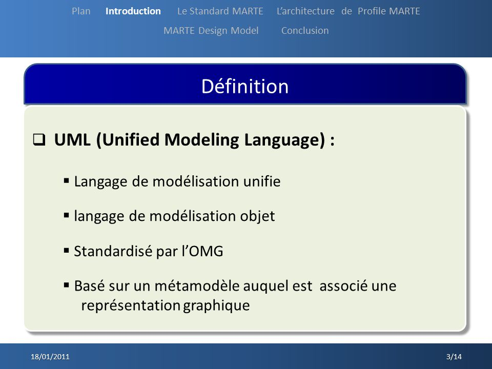 Définition UML (Unified Modeling Language) :