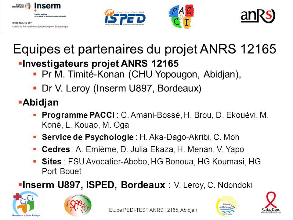 Equipes et partenaires du projet ANRS 12165