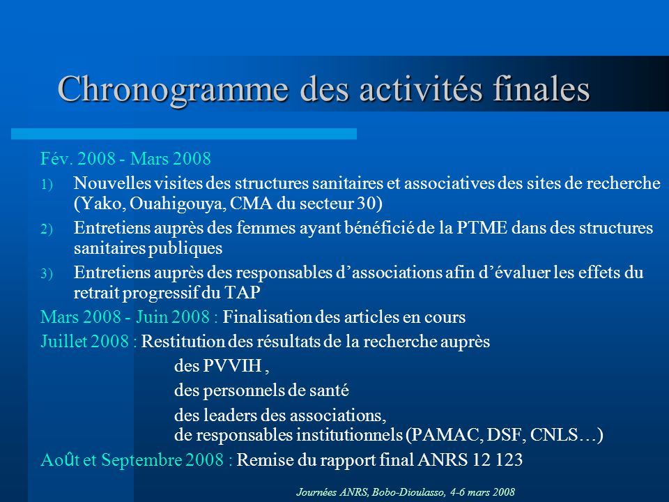 Chronogramme des activités finales