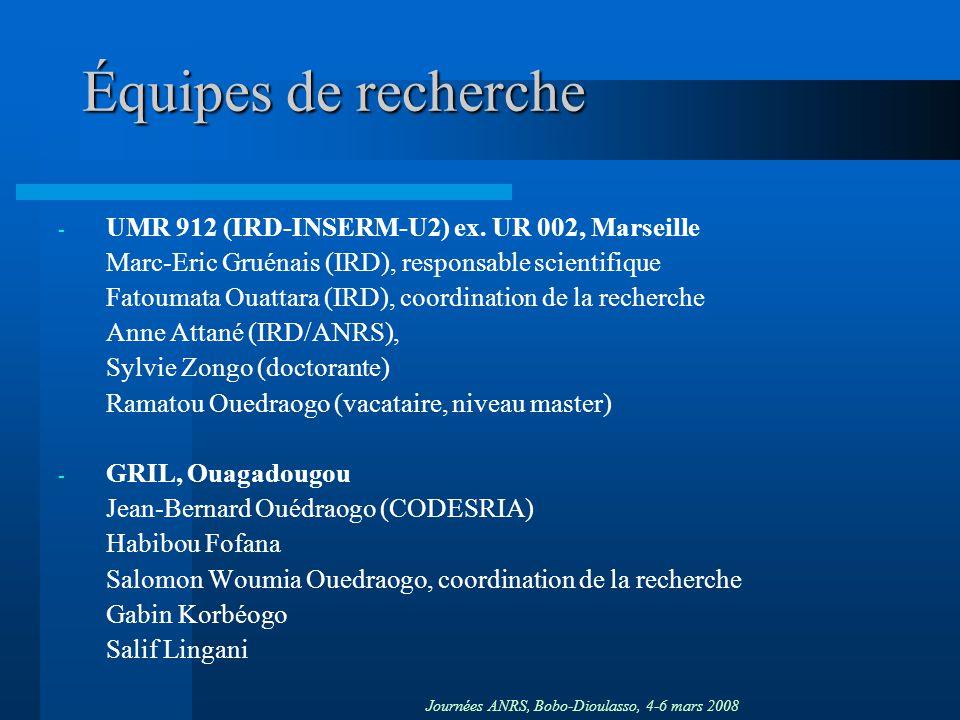 Équipes de recherche UMR 912 (IRD-INSERM-U2) ex. UR 002, Marseille