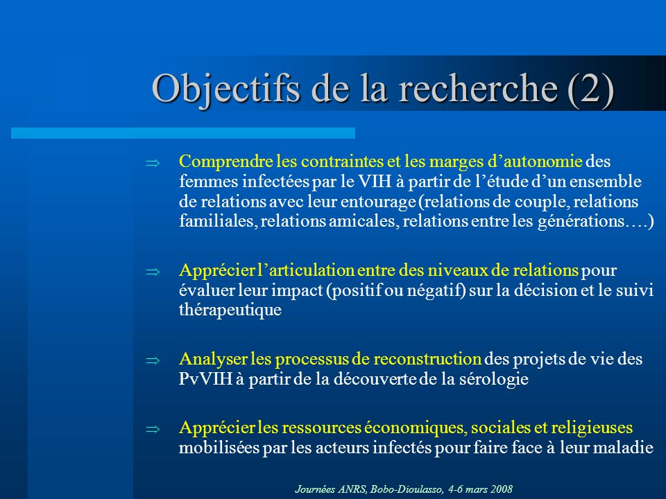 Objectifs de la recherche (2)