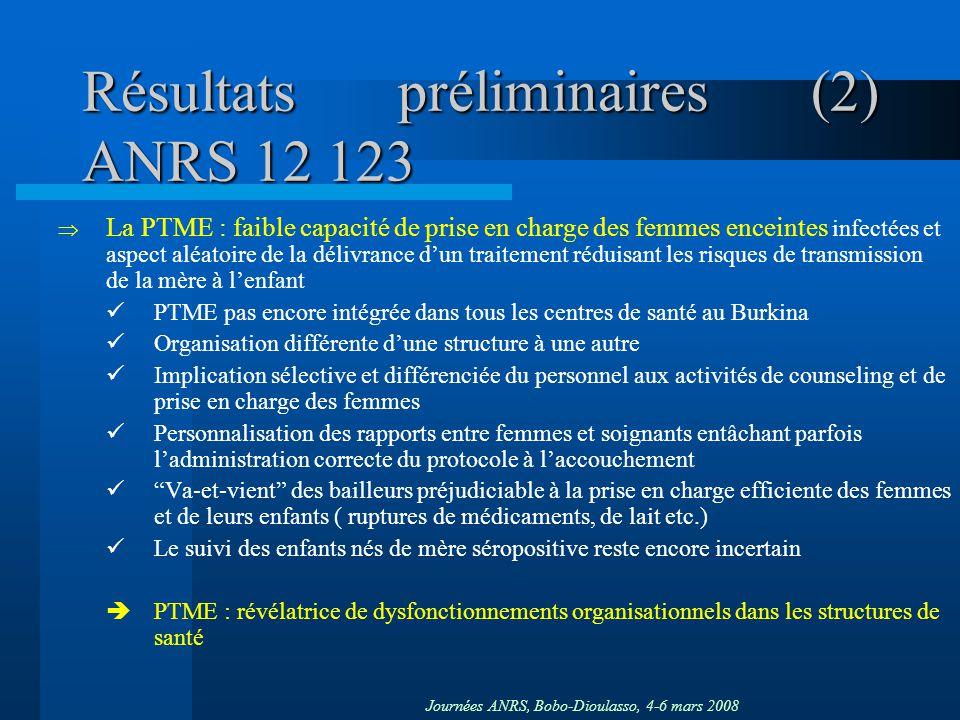 Résultats préliminaires (2) ANRS 12 123
