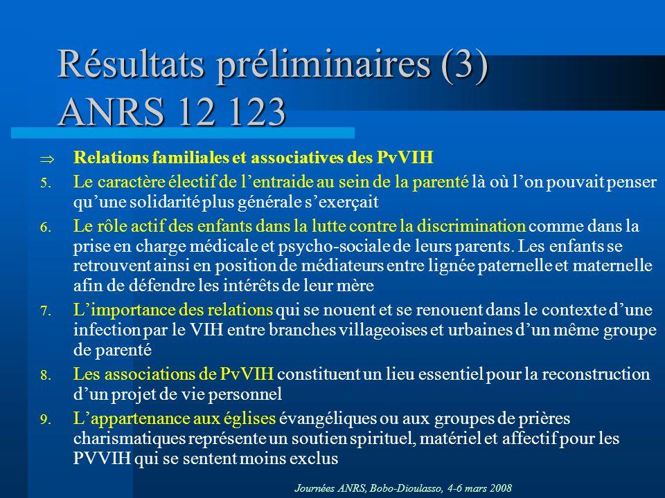 Résultats préliminaires (3) ANRS 12 123