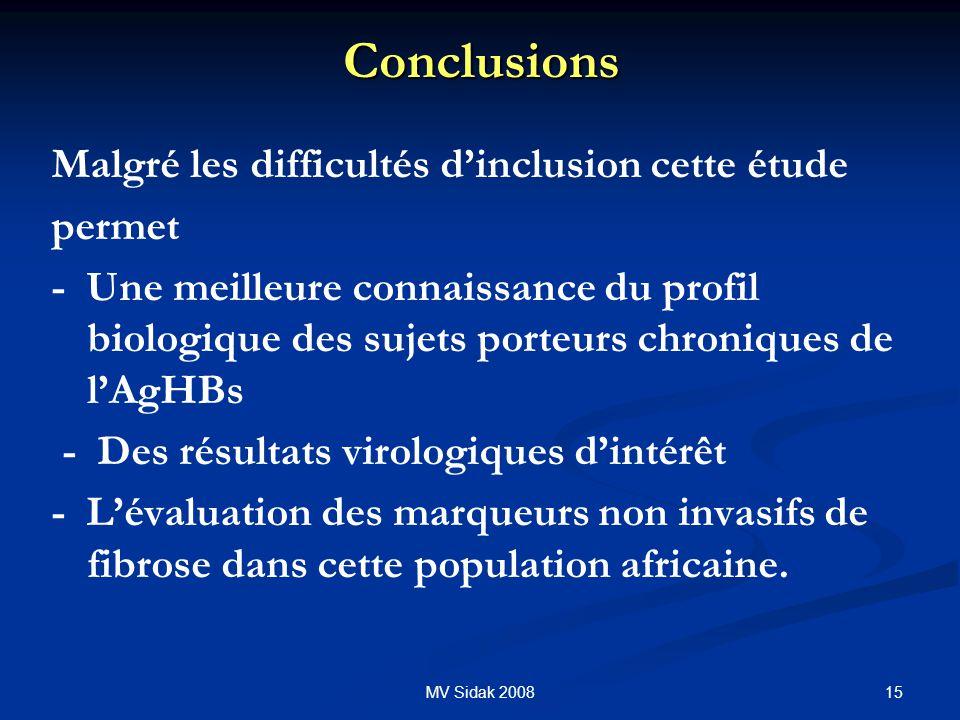 Conclusions Malgré les difficultés d'inclusion cette étude permet