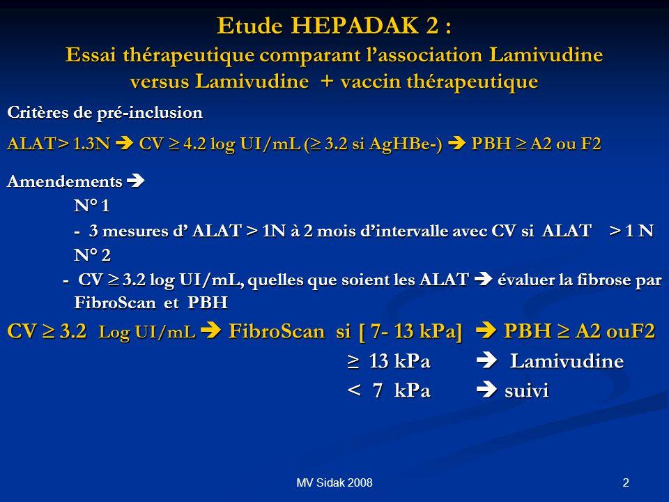 Etude HEPADAK 2 : Essai thérapeutique comparant l'association Lamivudine versus Lamivudine + vaccin thérapeutique
