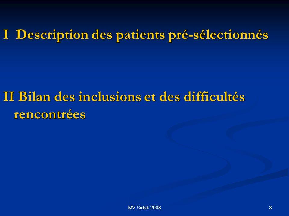 I Description des patients pré-sélectionnés