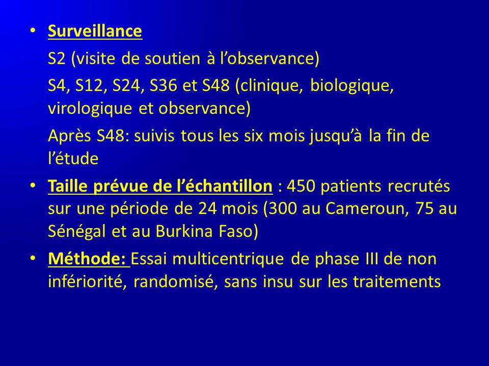 Surveillance S2 (visite de soutien à l'observance) S4, S12, S24, S36 et S48 (clinique, biologique, virologique et observance)