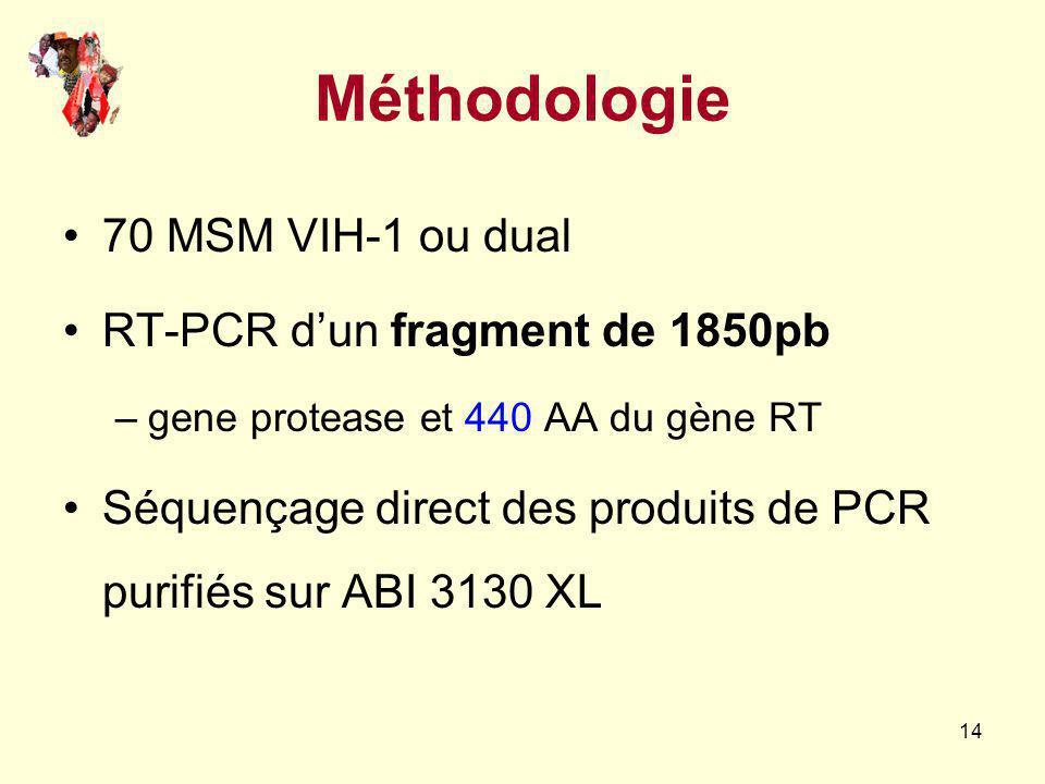 Méthodologie 70 MSM VIH-1 ou dual RT-PCR d'un fragment de 1850pb