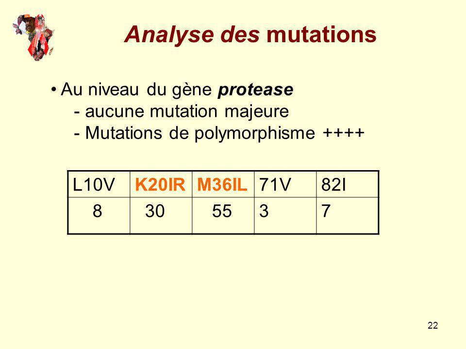 Analyse des mutations Au niveau du gène protease