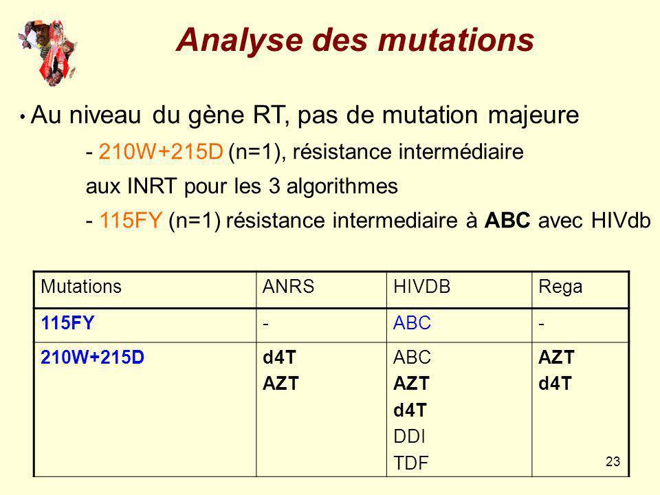 Analyse des mutations aux INRT pour les 3 algorithmes