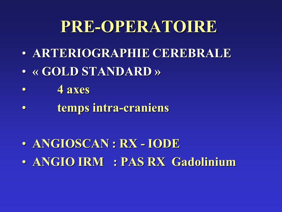 PRE-OPERATOIRE ARTERIOGRAPHIE CEREBRALE « GOLD STANDARD » 4 axes