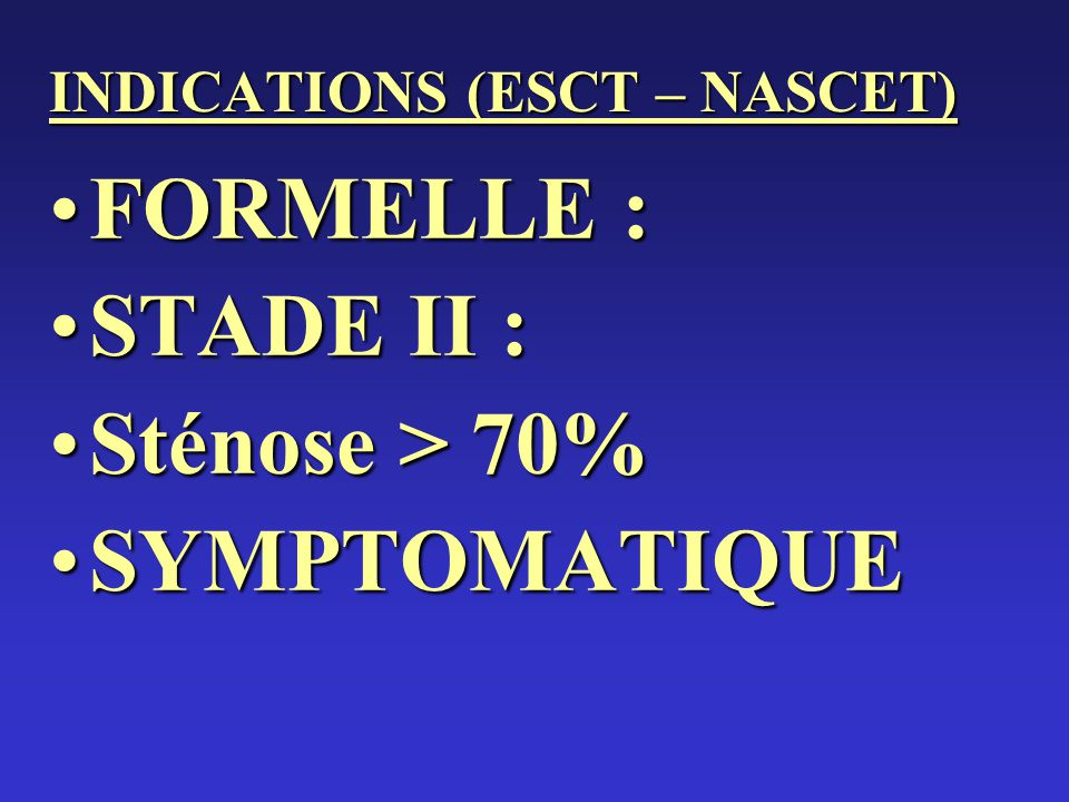 INDICATIONS (ESCT – NASCET)