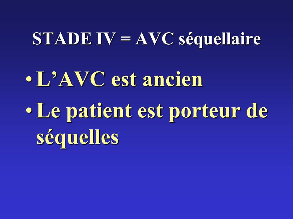 STADE IV = AVC séquellaire