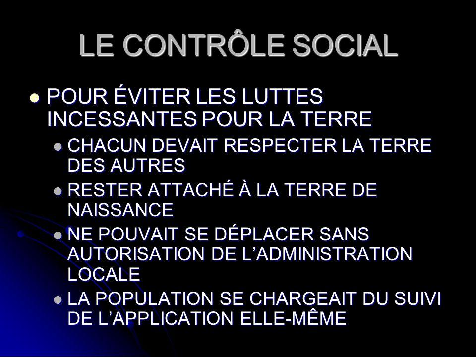LE CONTRÔLE SOCIAL POUR ÉVITER LES LUTTES INCESSANTES POUR LA TERRE