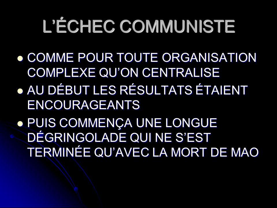 L'ÉCHEC COMMUNISTE COMME POUR TOUTE ORGANISATION COMPLEXE QU'ON CENTRALISE. AU DÉBUT LES RÉSULTATS ÉTAIENT ENCOURAGEANTS.