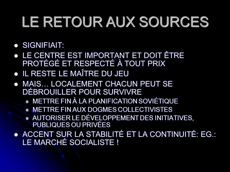 LE RETOUR AUX SOURCES SIGNIFIAIT: