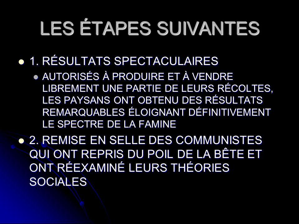 LES ÉTAPES SUIVANTES 1. RÉSULTATS SPECTACULAIRES
