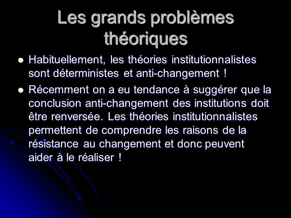 Les grands problèmes théoriques