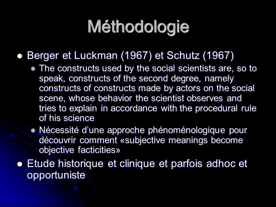 Méthodologie Berger et Luckman (1967) et Schutz (1967)