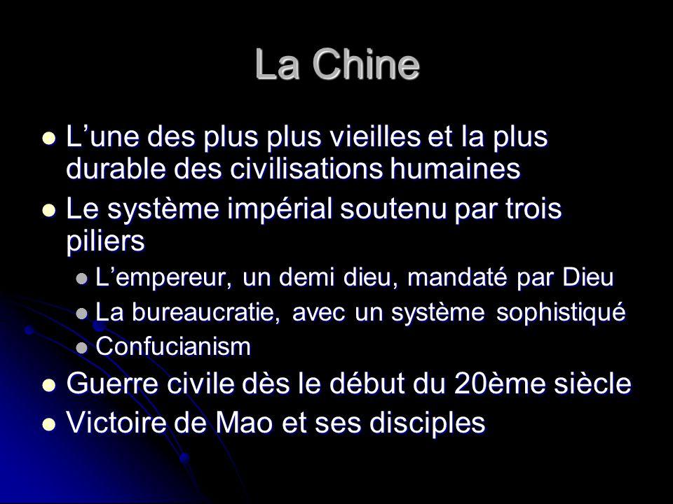 La Chine L'une des plus plus vieilles et la plus durable des civilisations humaines. Le système impérial soutenu par trois piliers.