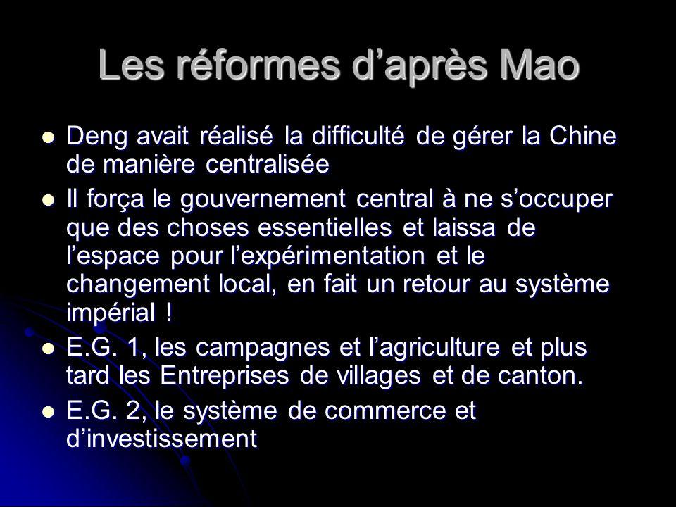 Les réformes d'après Mao