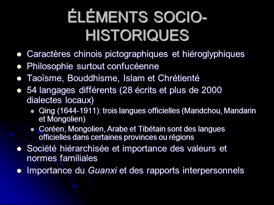ÉLÉMENTS SOCIO-HISTORIQUES