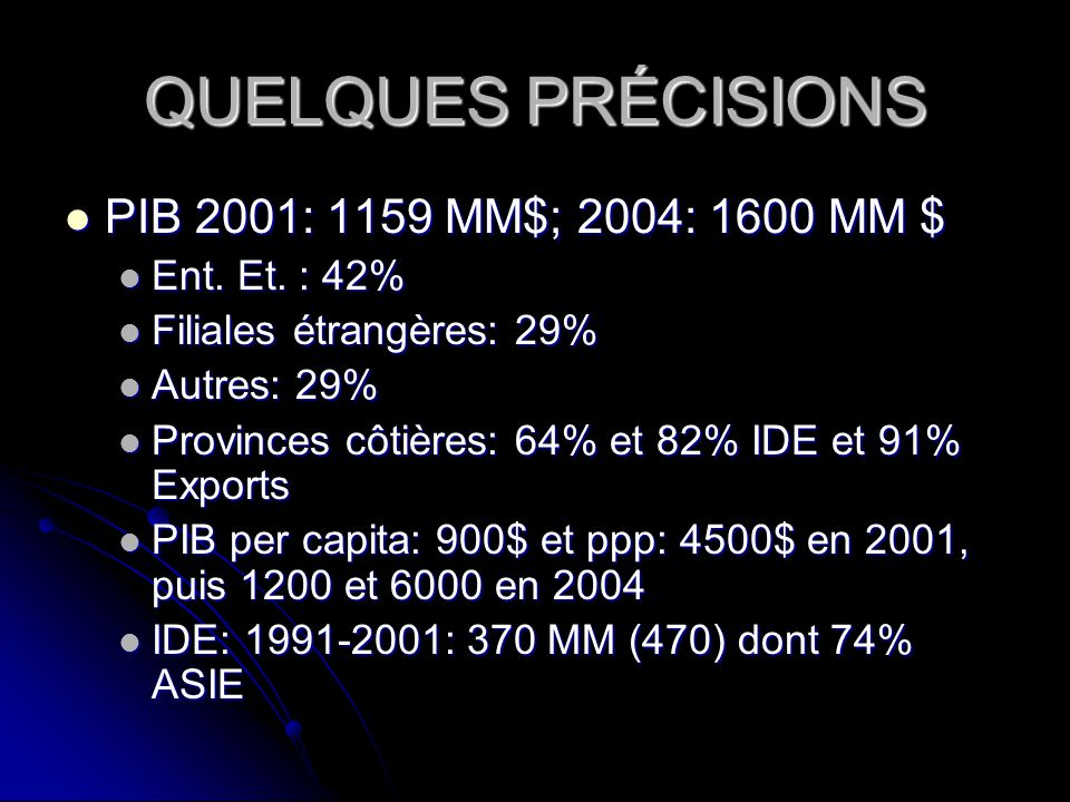 QUELQUES PRÉCISIONS PIB 2001: 1159 MM$; 2004: 1600 MM $ Ent. Et. : 42%