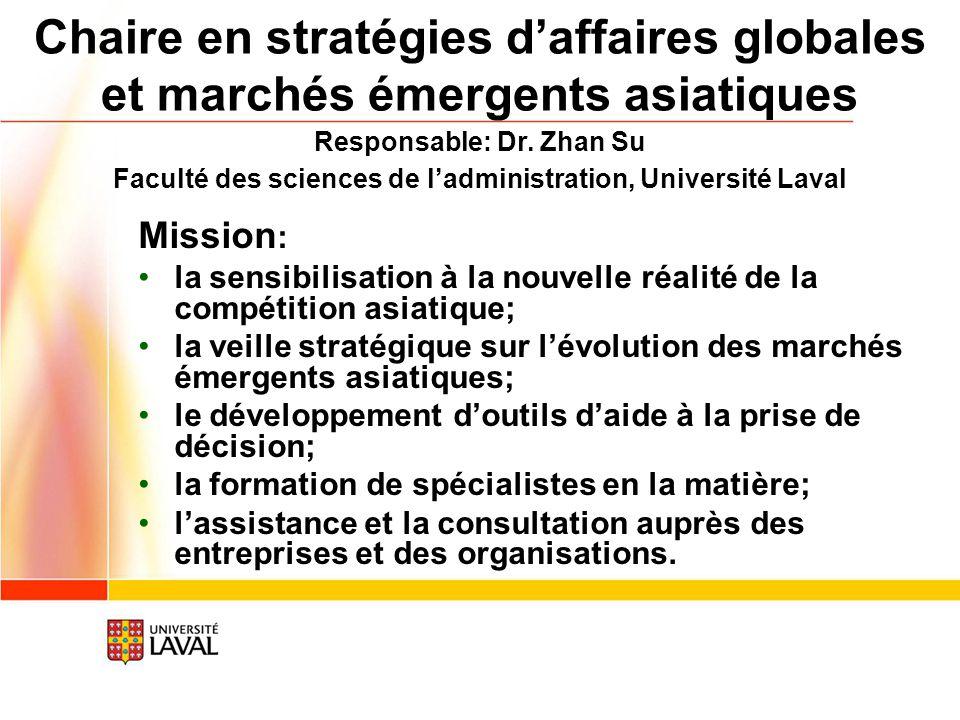 Chaire en stratégies d'affaires globales et marchés émergents asiatiques