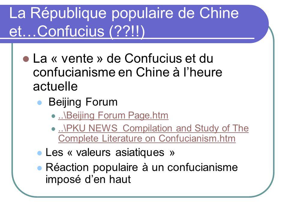 La République populaire de Chine et…Confucius ( !!)