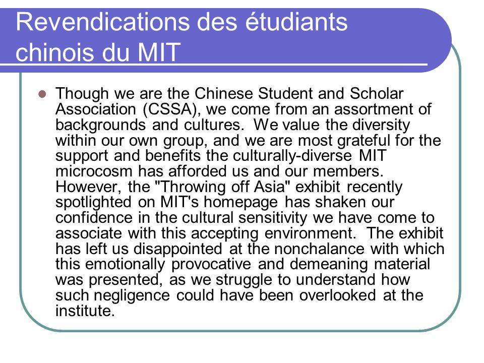 Revendications des étudiants chinois du MIT