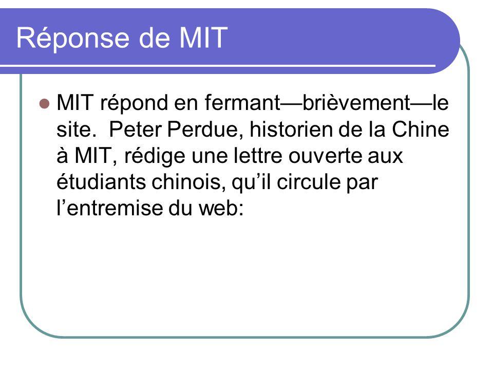 Réponse de MIT