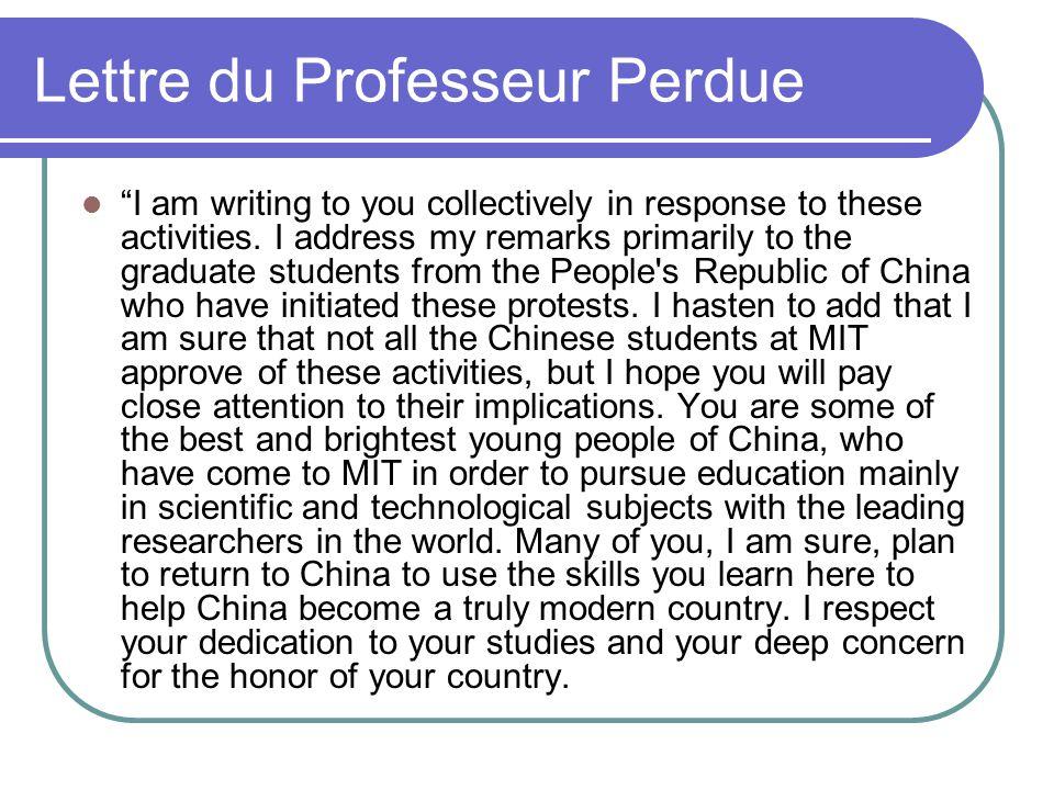 Lettre du Professeur Perdue