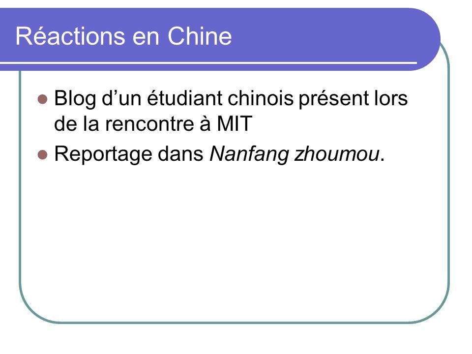 Réactions en Chine Blog d'un étudiant chinois présent lors de la rencontre à MIT.