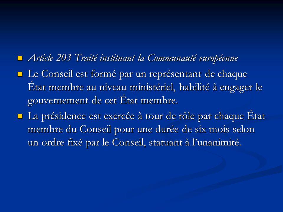 Article 203 Traité instituant la Communauté européenne