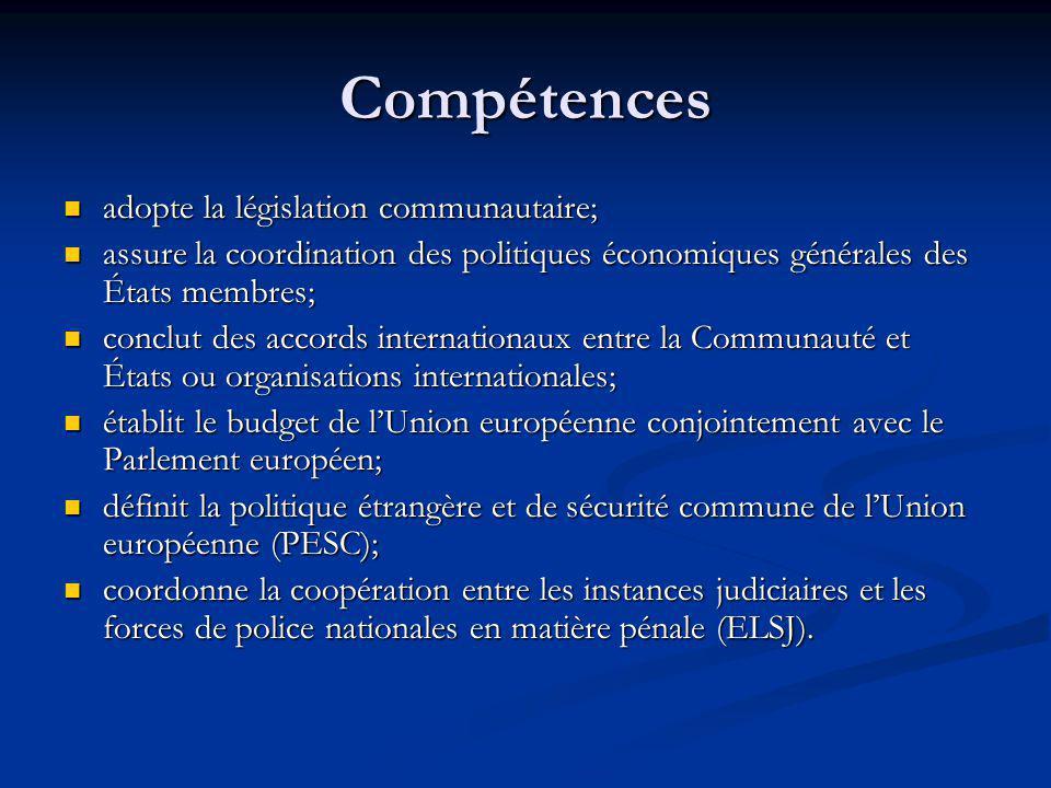 Compétences adopte la législation communautaire;