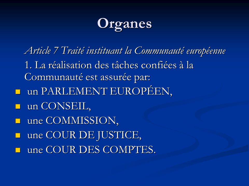 Organes Article 7 Traité instituant la Communauté européenne