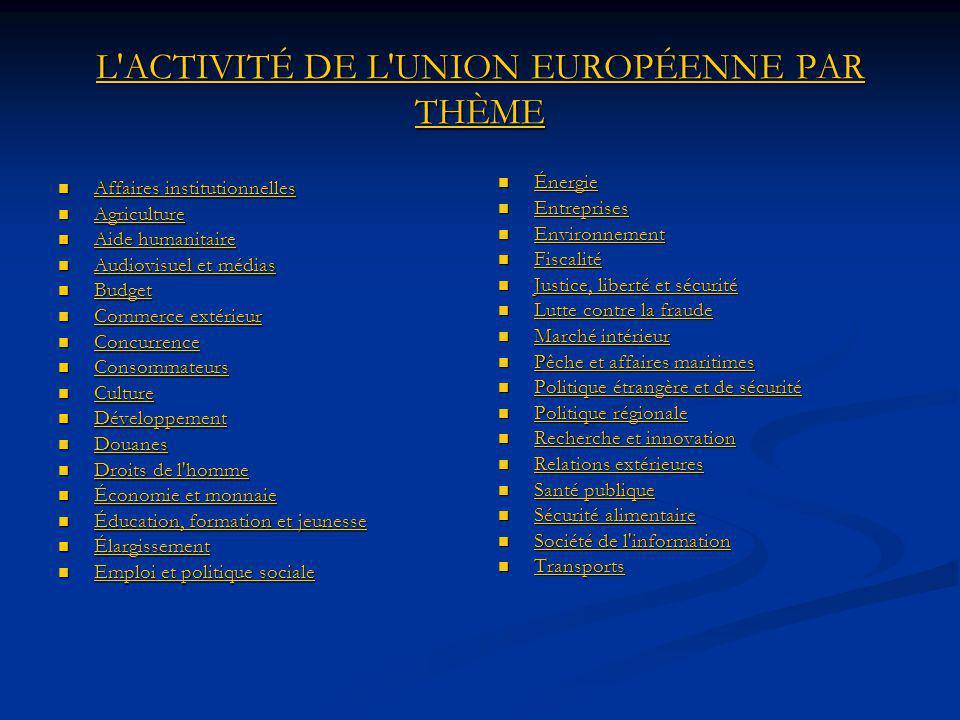 L ACTIVITÉ DE L UNION EUROPÉENNE PAR THÈME