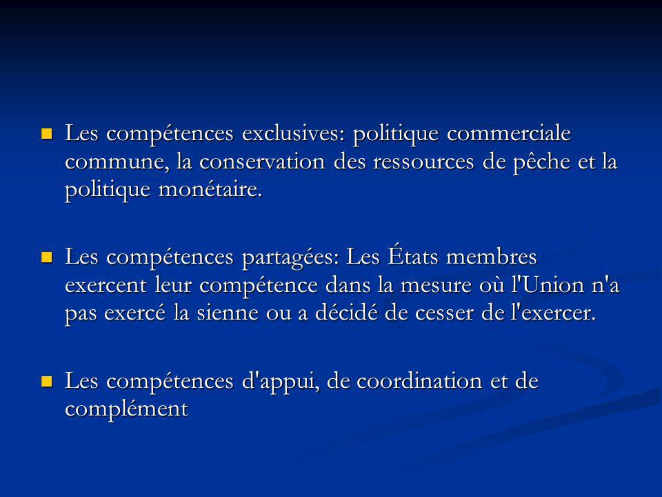Les compétences exclusives: politique commerciale commune, la conservation des ressources de pêche et la politique monétaire.