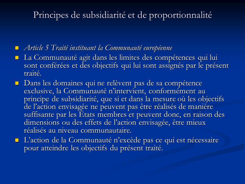 Principes de subsidiarité et de proportionnalité