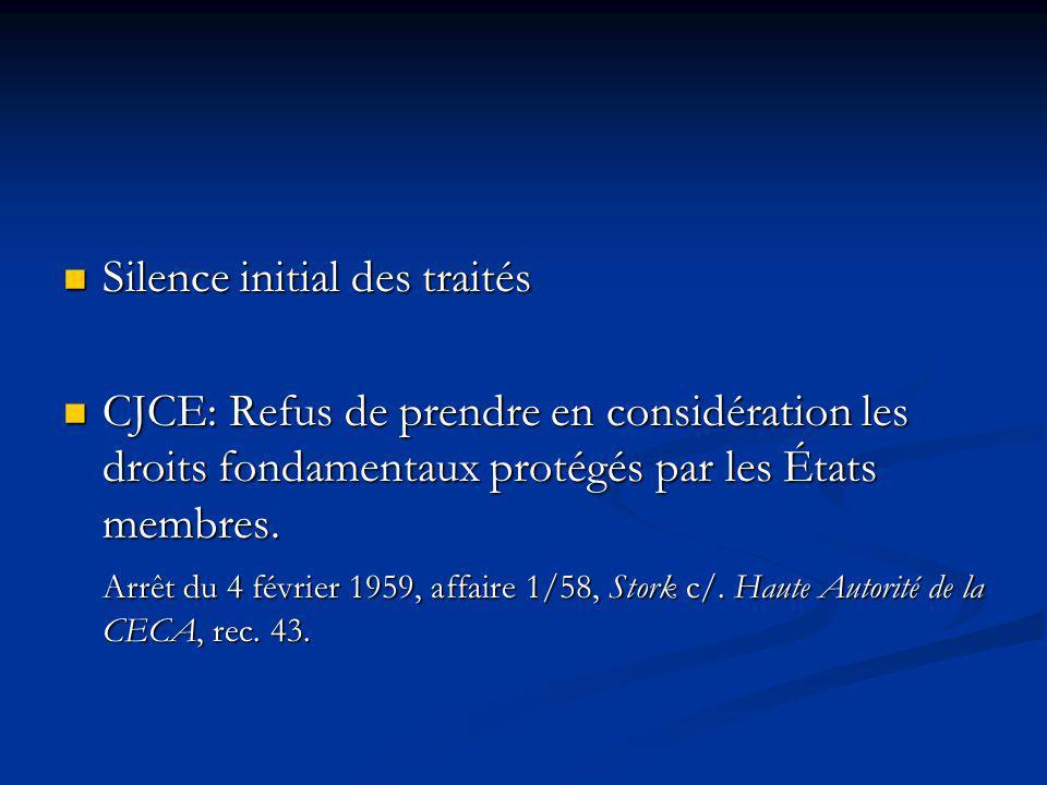 Silence initial des traités