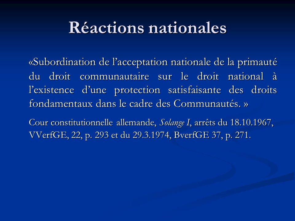 Réactions nationales