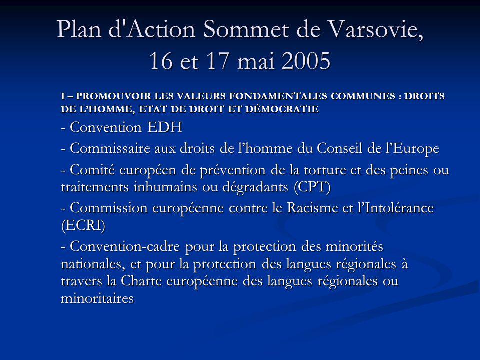 Plan d Action Sommet de Varsovie, 16 et 17 mai 2005