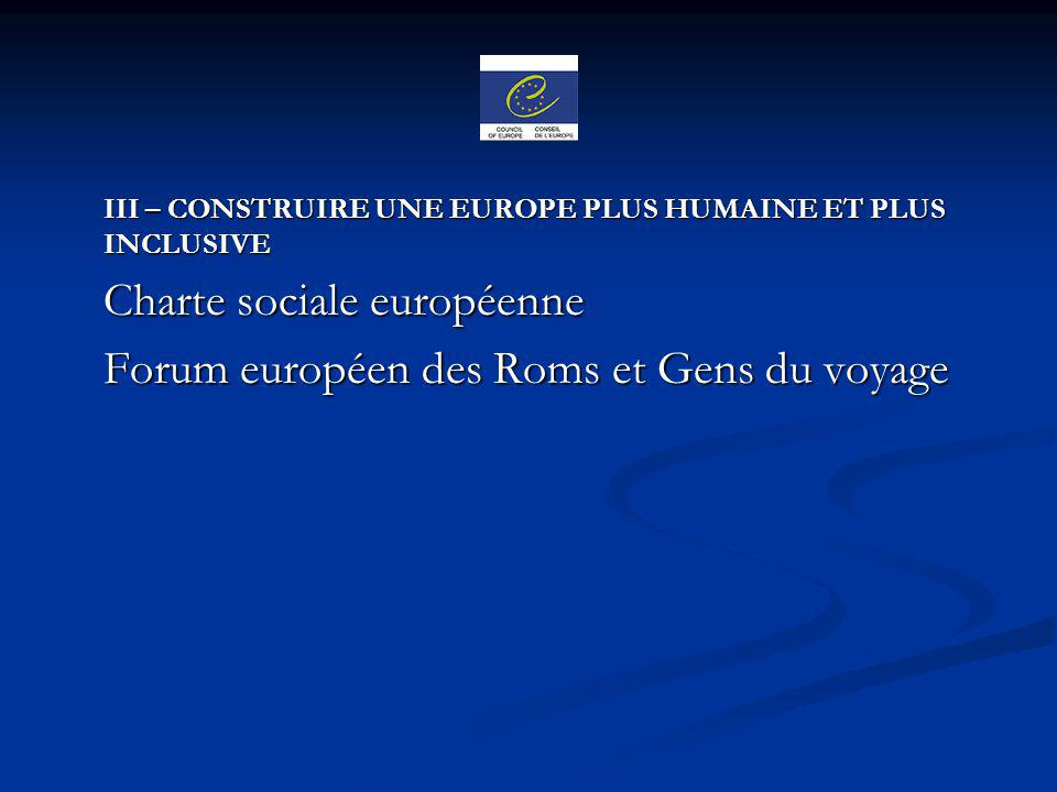 Charte sociale européenne Forum européen des Roms et Gens du voyage
