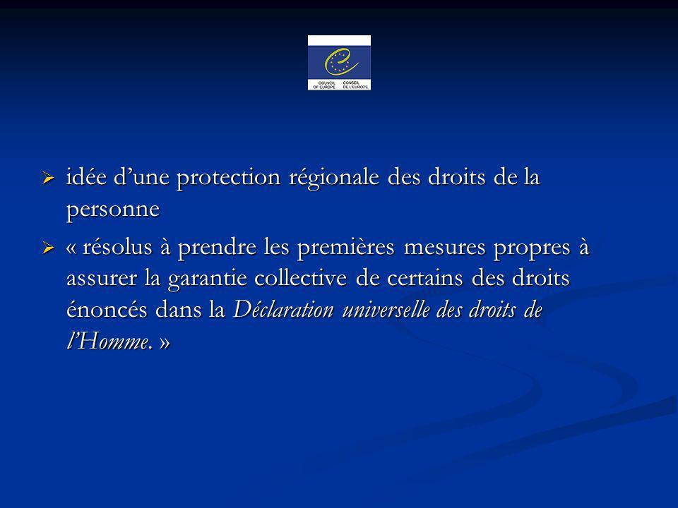 idée d'une protection régionale des droits de la personne