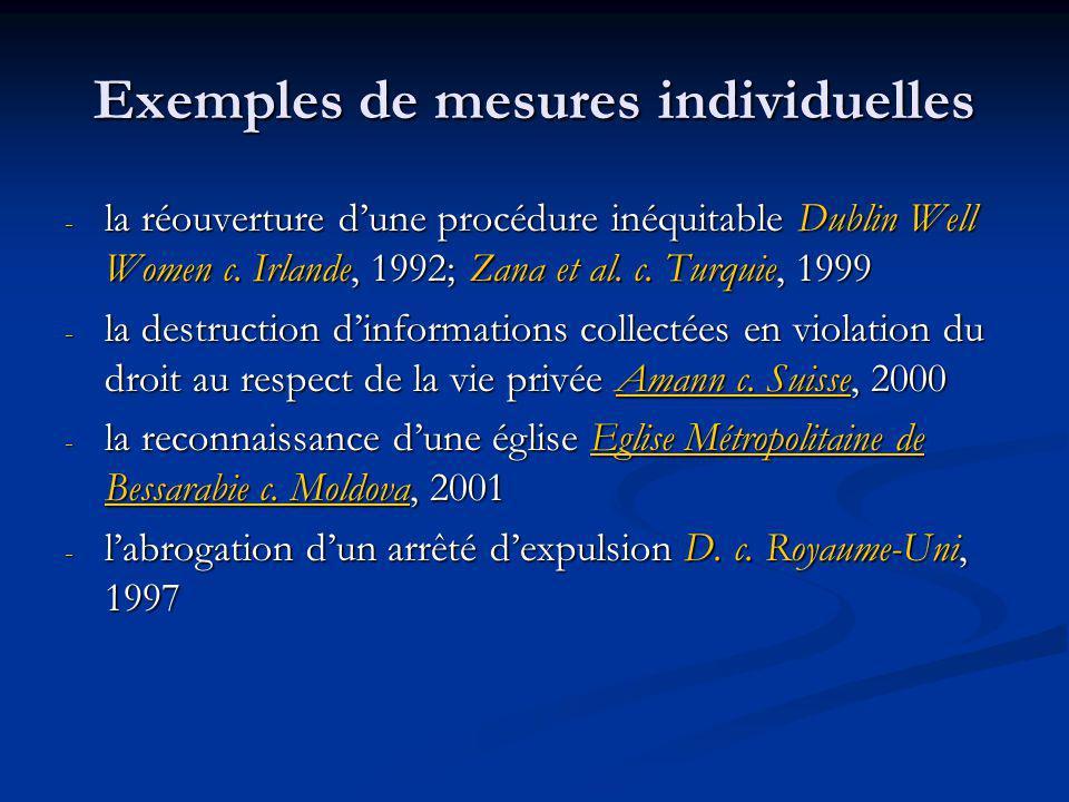 Exemples de mesures individuelles