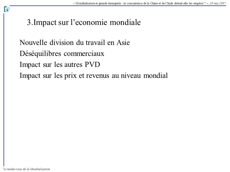3.Impact sur l'economie mondiale