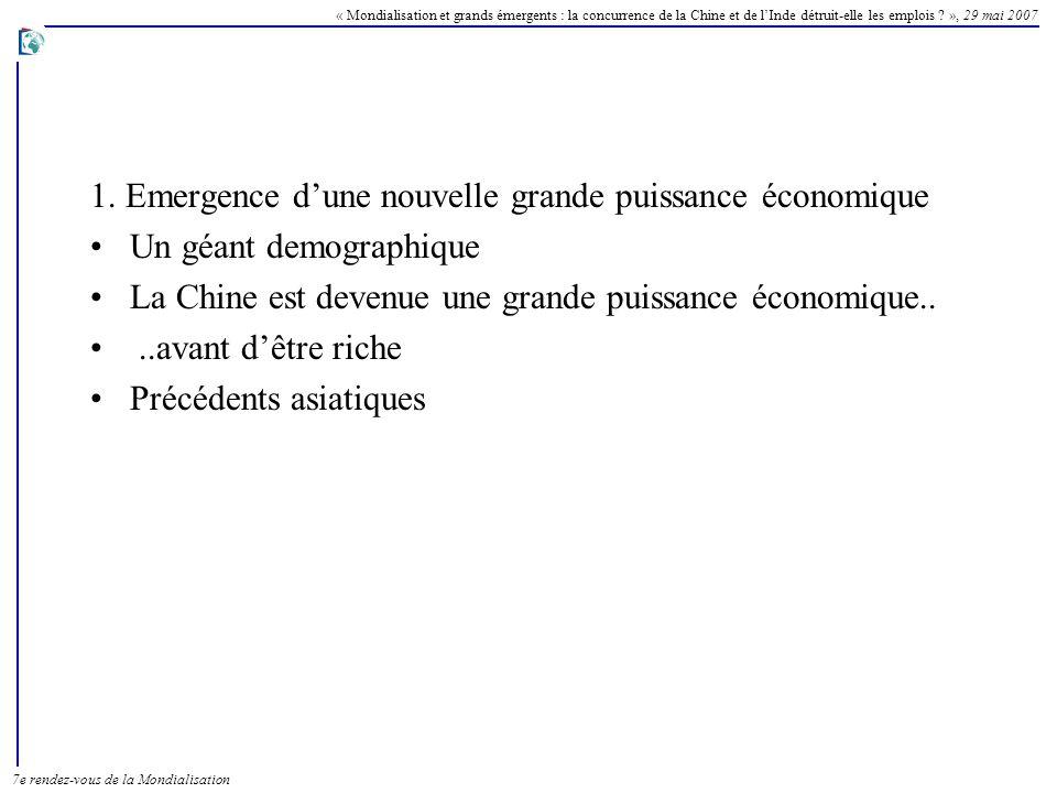1. Emergence d'une nouvelle grande puissance économique