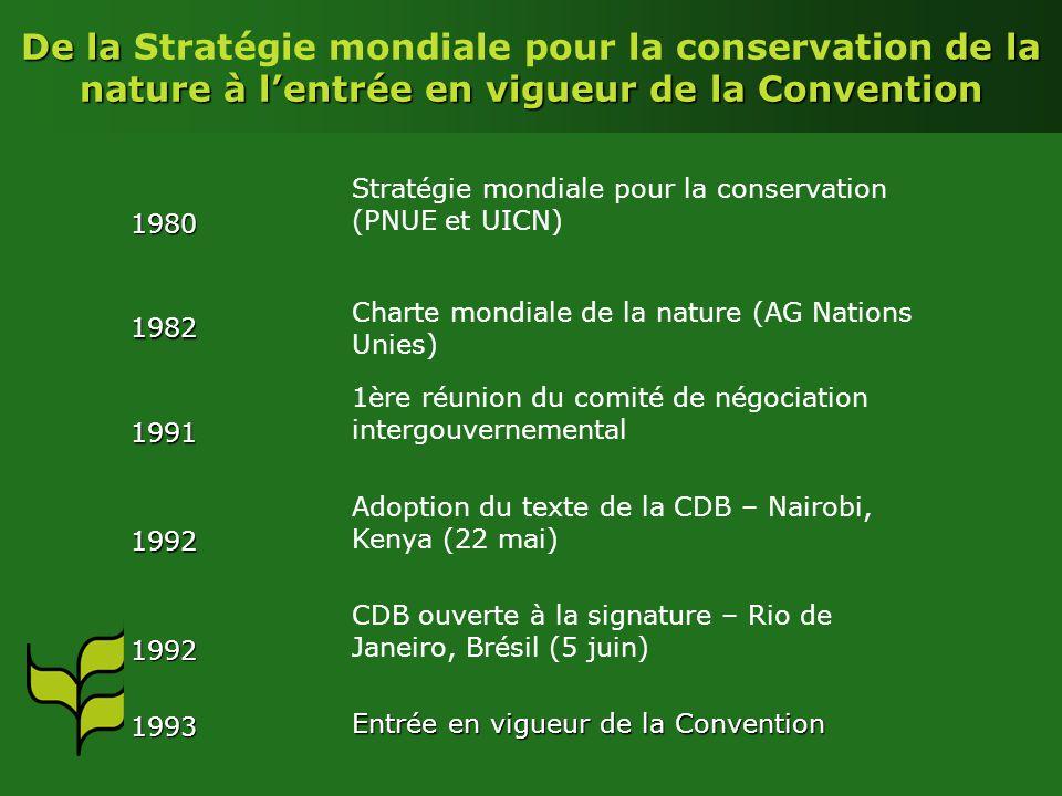 De la Stratégie mondiale pour la conservation de la nature à l'entrée en vigueur de la Convention