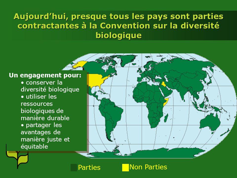Introduction 6 Aujourd'hui, presque tous les pays sont parties contractantes à la Convention sur la diversité biologique.
