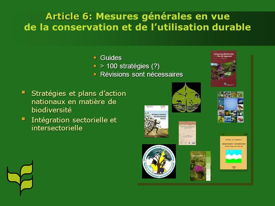 Article 6: Mesures générales en vue de la conservation et de l'utilisation durable